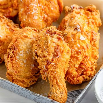Close up of The Best Southern Fried Chicken on metal tray thumbnail image