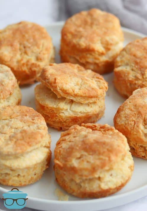 Air Fryer Buttermilk Biscuits on white plate