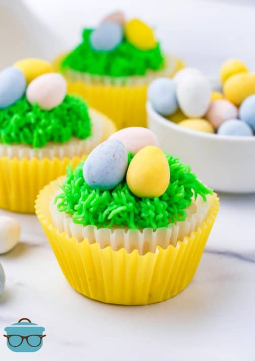 Easter Egg Cupcakes decorated in paper liners