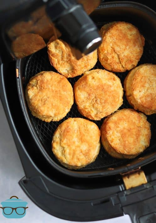 Finished Buttermilk Biscuits in air fryer basket
