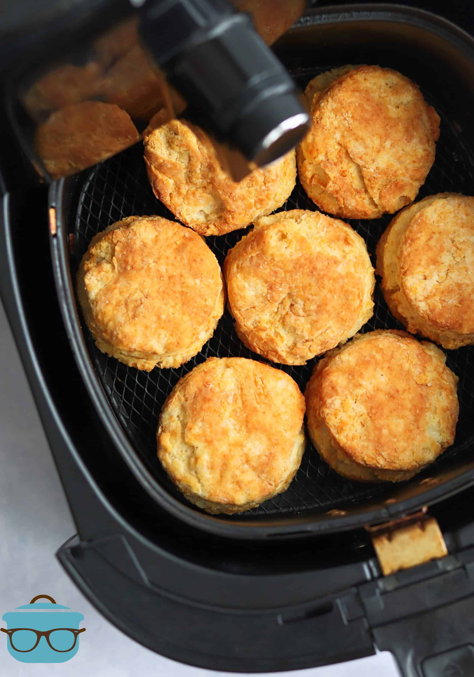 Finished Buttermilk Biscuits in air fryer basket.