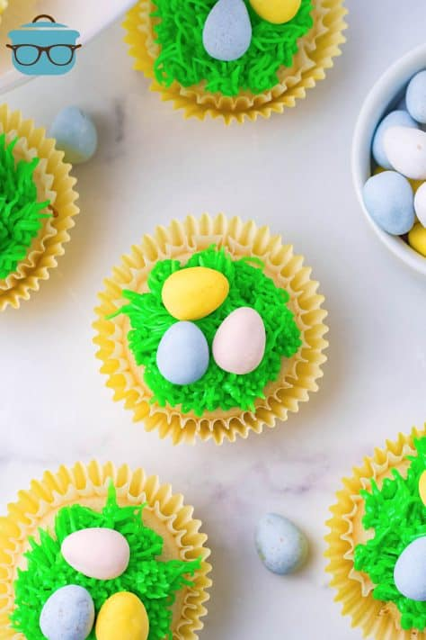 Overhead of Easter Egg Cupcakes