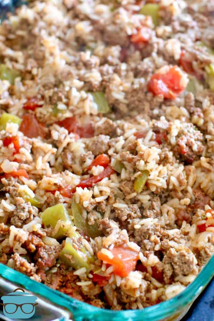 fully cooked Stuffed Pepper Casserole in a clear baking dish