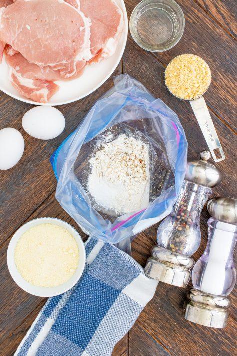 Flour, salt and pepper in ziptop baggie