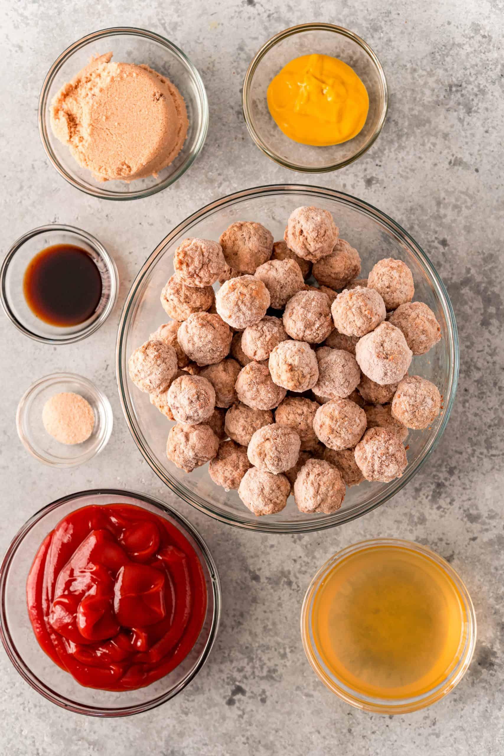Ingredients needed to make Crock Pot Meatloaf Meatballs: meatballs, ketchup, brown sugar, beef broth, mustard, worcestershire sauce, onion powder