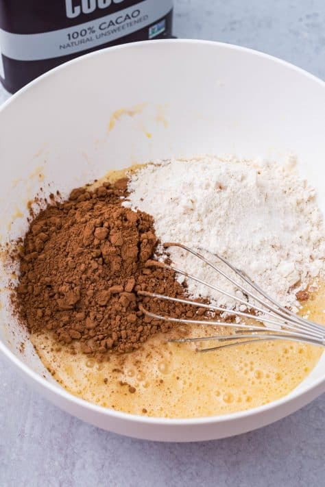 Flour, cocoa powder and salt added too wet mixture