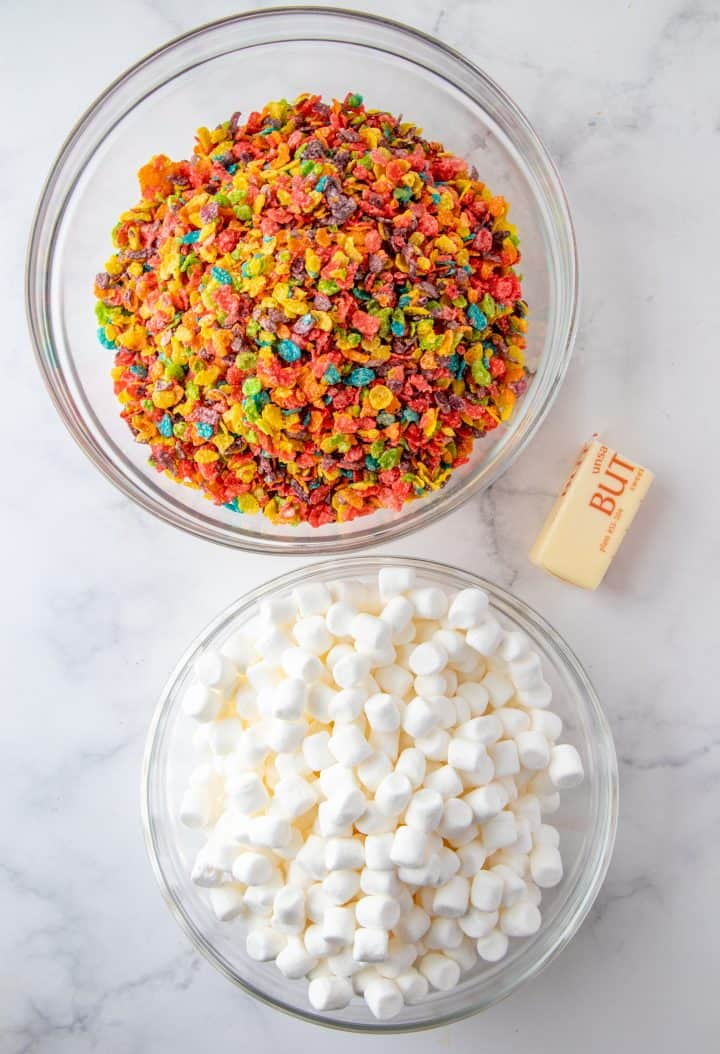 Ingredients needed, fruity pebbles, butter and mini marshmallows
