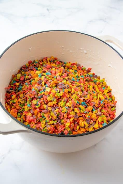 Fruity Pebbles added to marshmallows