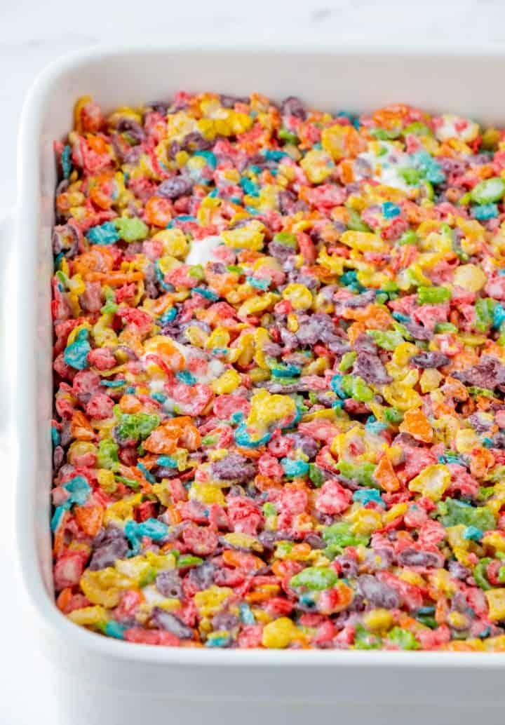 Fruity Pebbles Treats pressed into pan