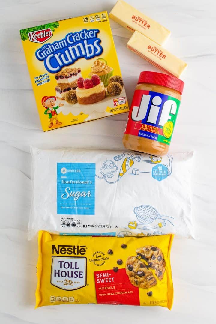 Ingredients needed to make Grandma's Peanut Butter Bars: butter, powdered sugar, graham cracker crumbs, peanut butter, chocolate chips.