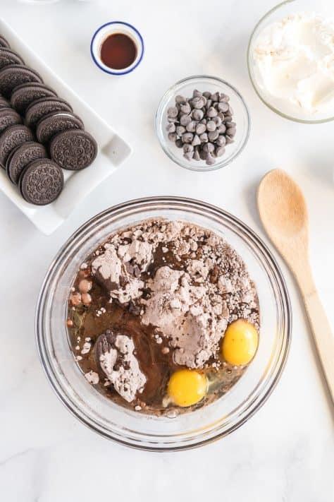Brownie ingredients in bowl