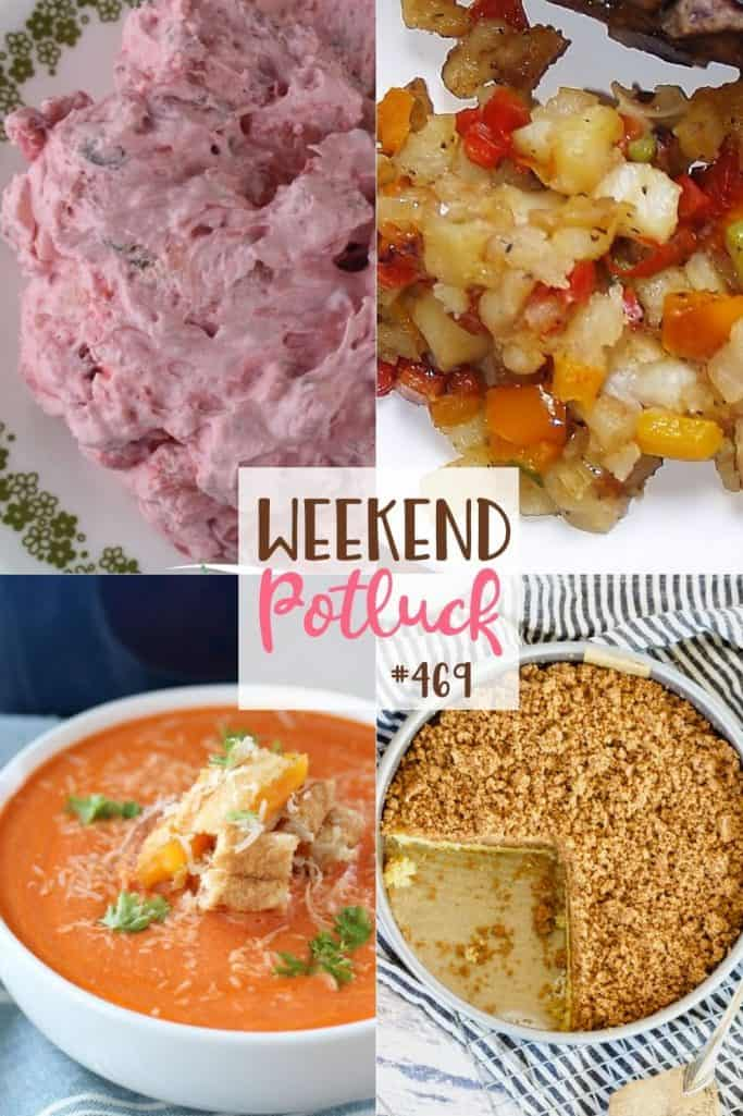 Weekend Potluck recipes include: Strawberry Delight, Potatoes O'Brien, Starbuck's Copycat Coffee Cake and Creamy Tomato Soup