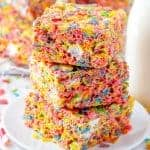 Stacked treats on white plate square image