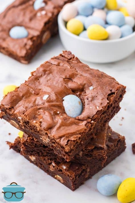 Three stacked Easter Egg Brownies