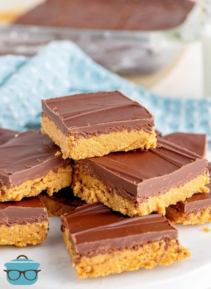 Grandma's Peanut Butter Bars layered on plate.