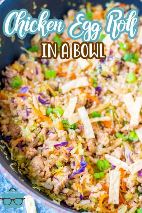 Finished Egg Roll in a Bowl close up in pan Pinterest image