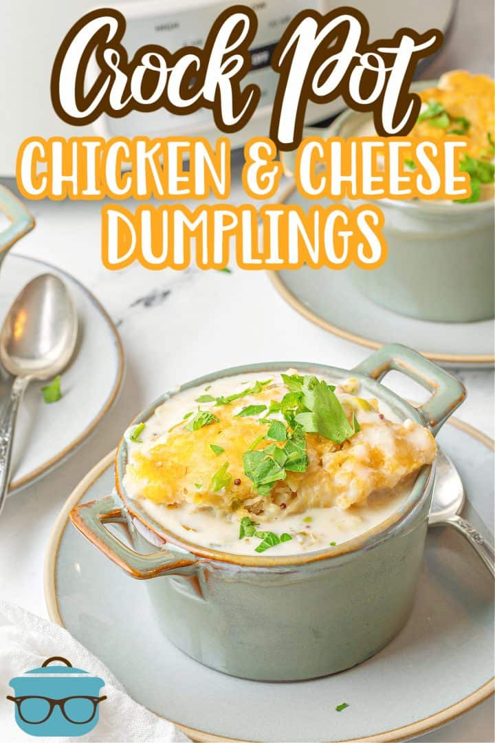 Bowl of Crock Pot Chicken and Cheese Dumplings in bowl on plate pinterest image.