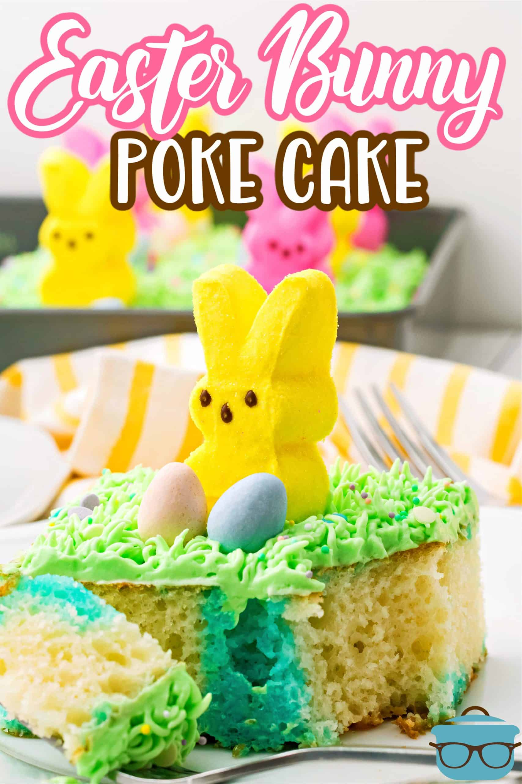 """This Easter Bunny Poke Cake is poked with Jell-O, topped with a fun whipped """"grass"""" frosting and topped with bunny Peeps and Cadbury eggs. A fun, flavorful Easter cake!"""