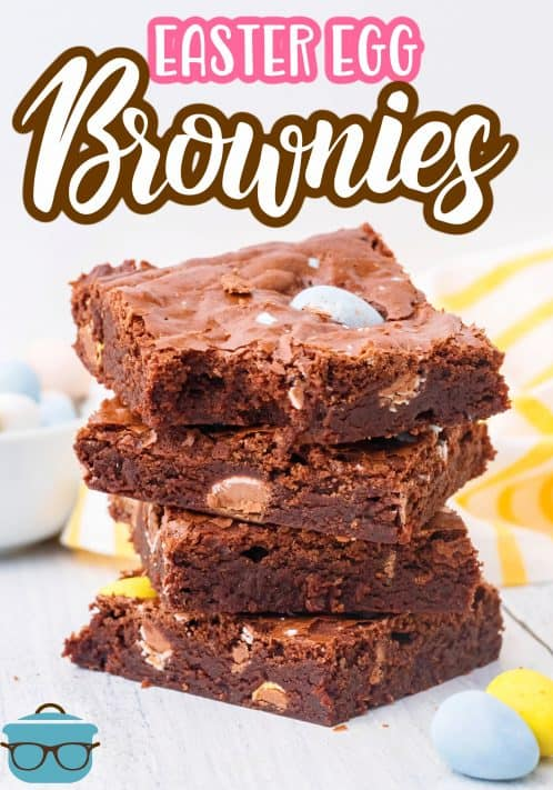 Stacked Easter Egg Brownies with bite taken out of the top one Pinterest image