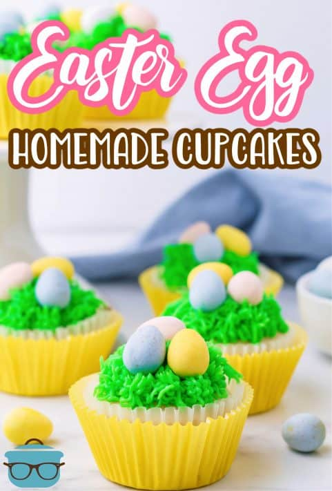 Multiple decorated Easter Egg Cupcakes Pinterest image