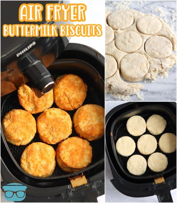 Collage inmate of biscuits fried, cut and being cut