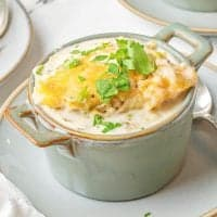 Close up of Chicken and Cheese Dumpling in bowl on plate square image