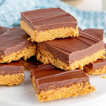 Close up of Peanut Butter Squares stacked square image