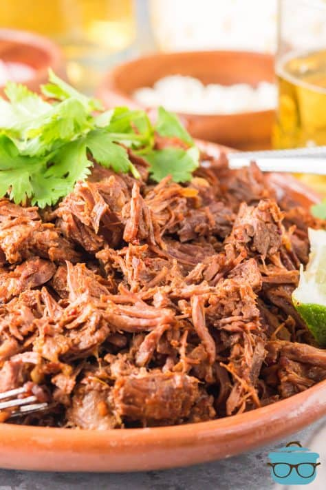Close up of Instant Pot Barbacoa on plate