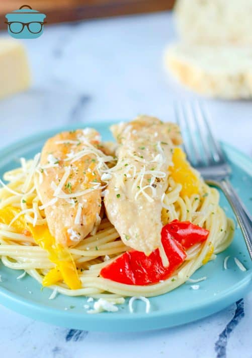 Plated Instant Pot Chicken Scampi on blue plate