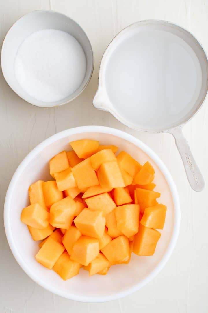 Ingredients needed: cantaloupe, sugar and water