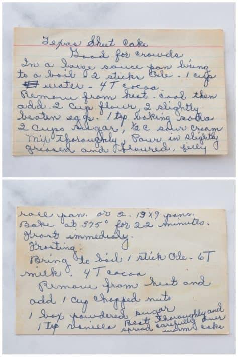 Hand written recipe for Grandma's Texas Sheet Cake