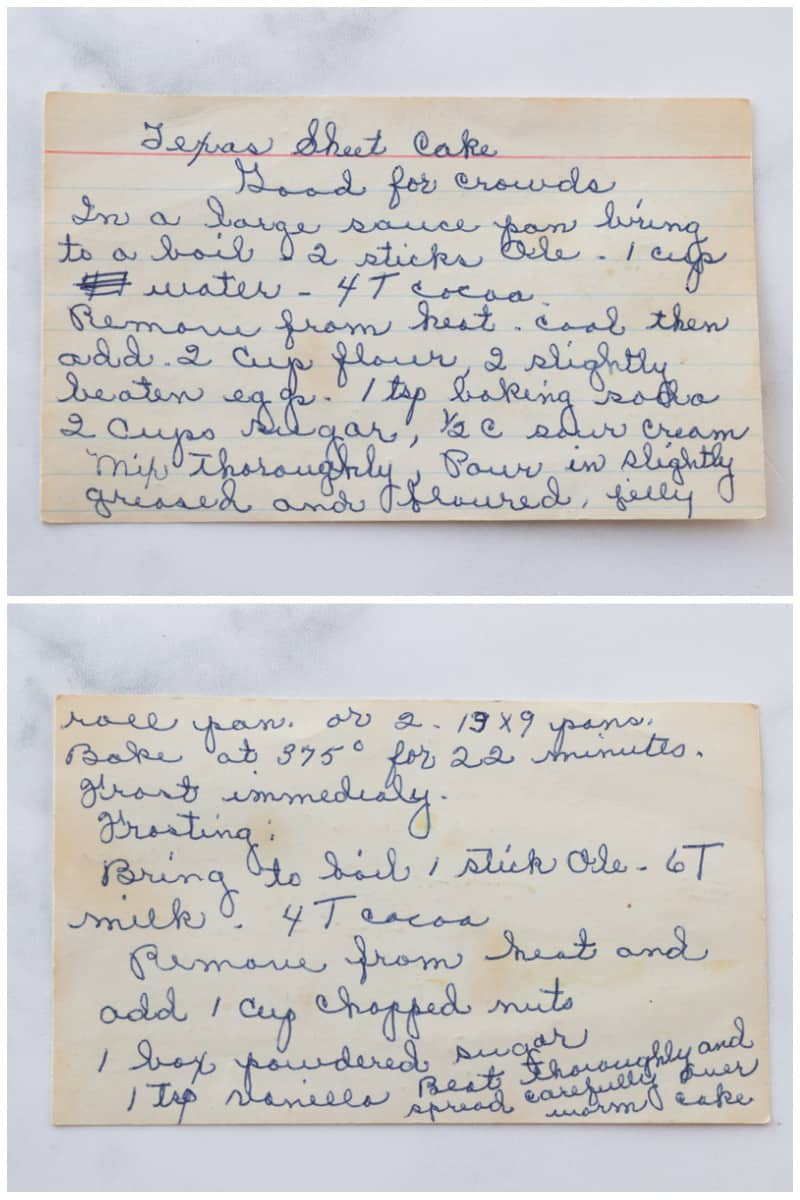 Hand written recipe for Grandma's Texas Sheet Cake.