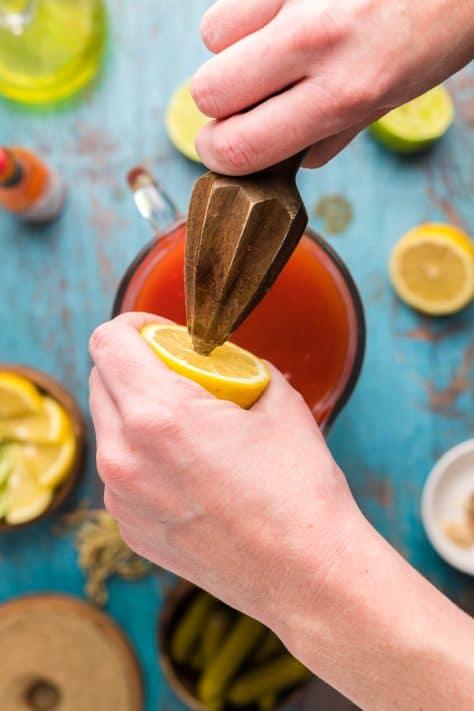 lemon being juiced