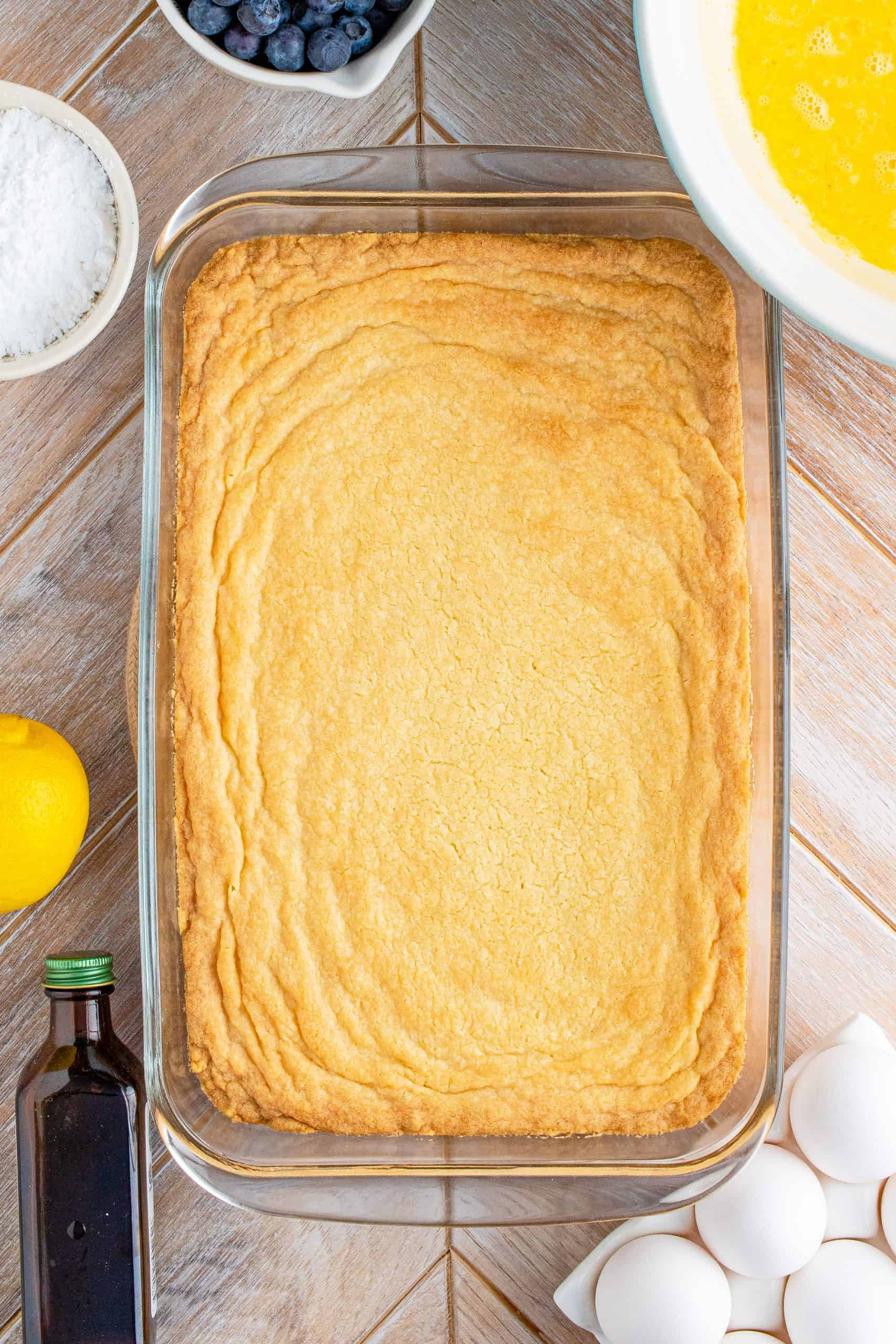 Cooked crust in baking pan right out of oven.