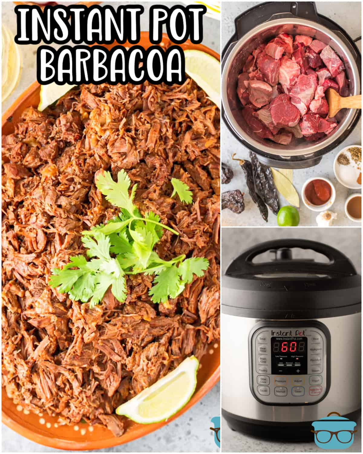 This Instant Pot Barbacoa is tender, juicy beef cooked in a delicious medley of chilis and spices. Perfect in so many different dishes such as tacos, bowls and burritos!