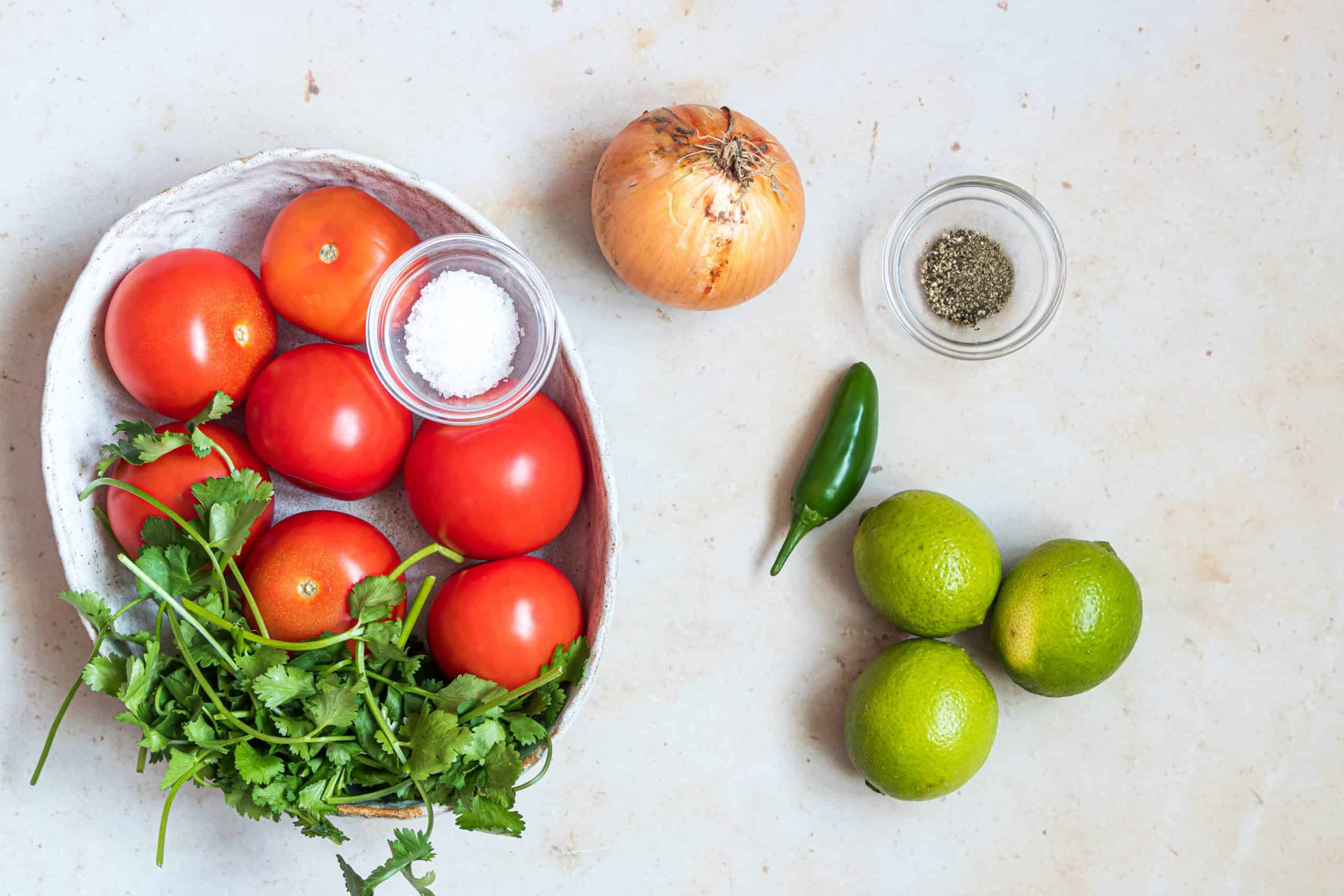 Ingrediens needed: tomatoes, onion, jalapeno, lime juice, salt and pepper