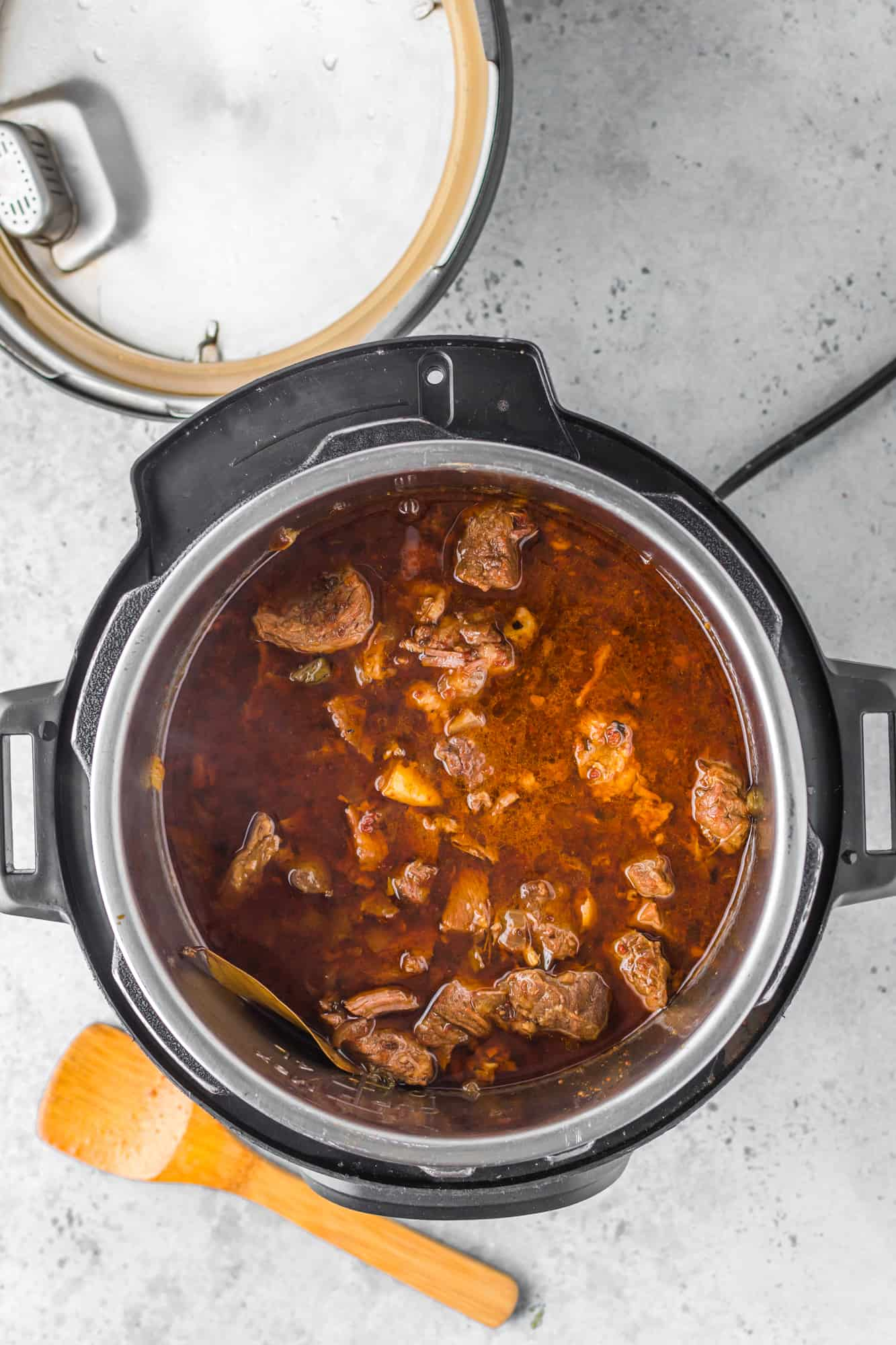 Finished barbacoa in instant pot after being cooked.