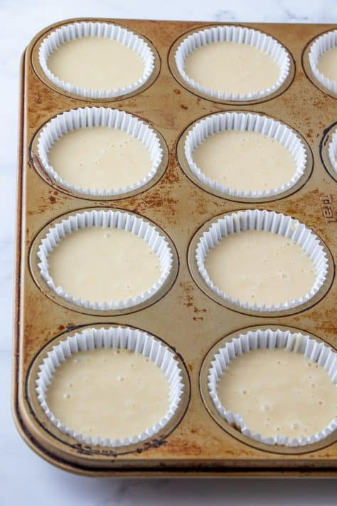 Batter added to cupcake liners