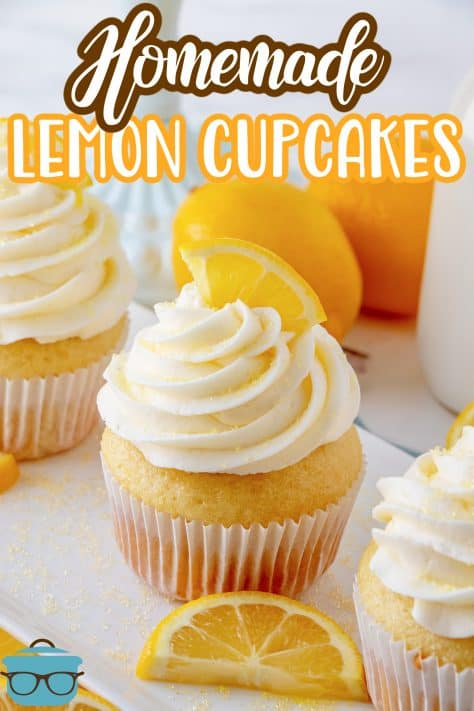 Pinterest image of cupcakes on white platter with lemons in background