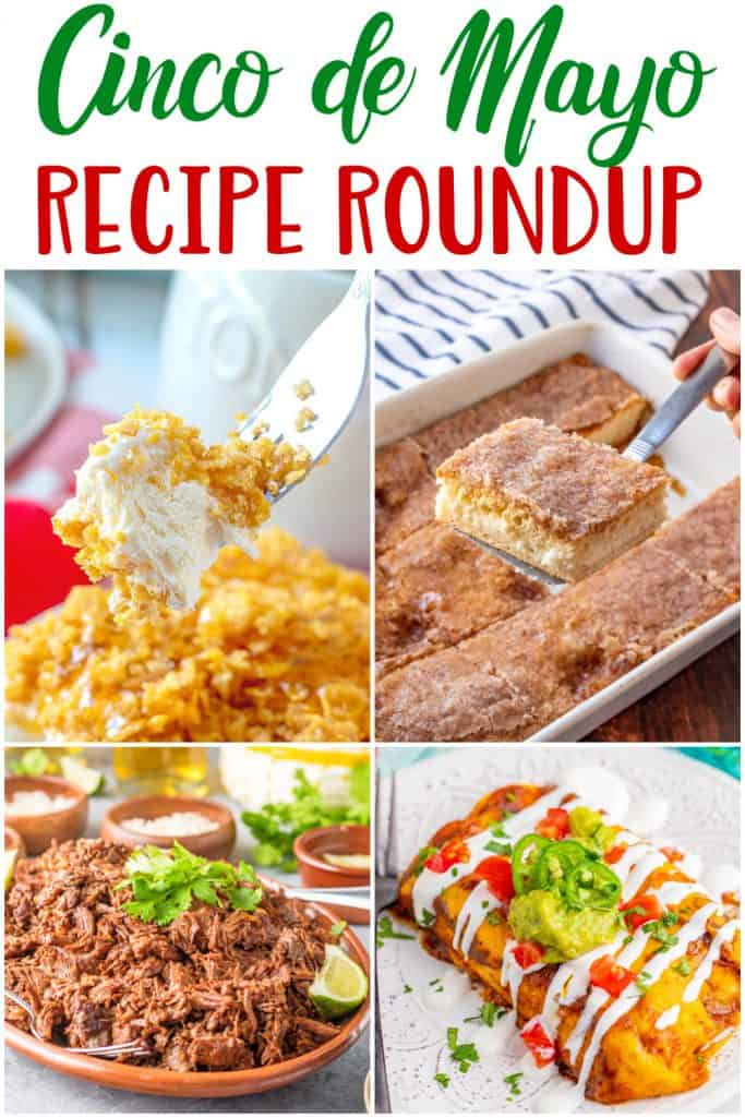 Cinco de Mayo Recipe Roundup collage with four photos showing Mexican inspired post