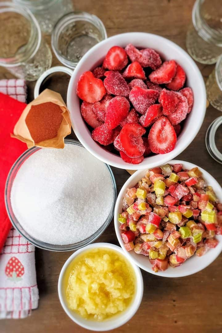 Ingredients needed: frozen sliced strawberries, frozen diced rhubarb, 1 can (8 ounces) crushed pineapple, granulated sugar, strawberry-flavored gelatin