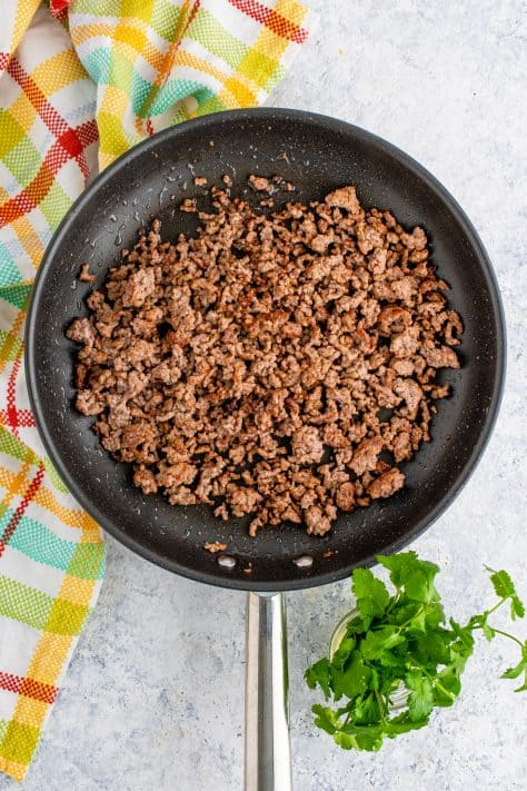 Ground beef cooked in skillet