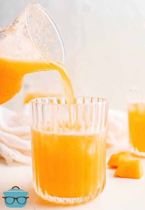 Agua de Melon Recipe being poured into glass