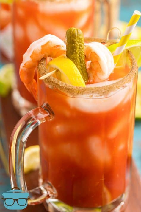 Close up of garnishes on Bloody Mary Mix in glass