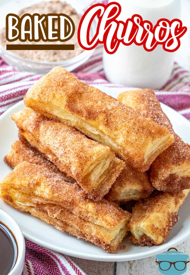 Easy Baked Churros require no oil, no frying and no messy dough and still tastes amazing! Puff pastry, butter and cinnamon sugar are all you need!