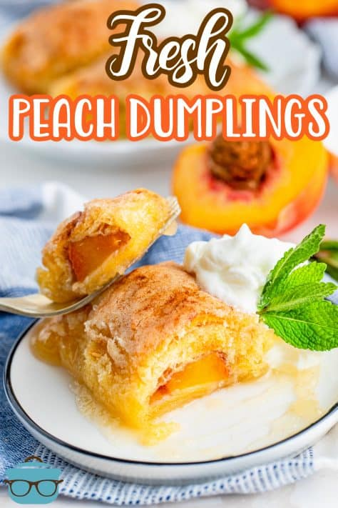 Easy Fresh Peach Dumplings on plate with bite taken out of one