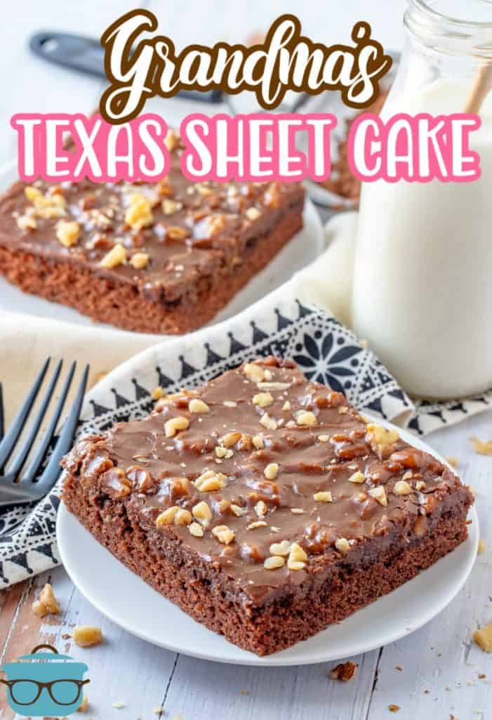 Two slices of Grandma's Texas Sheet Cake on white plates with side of milk Pinterest image