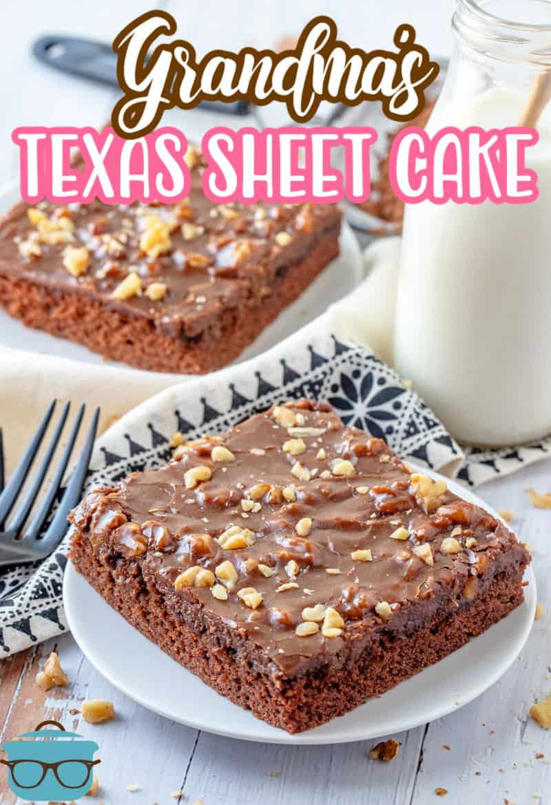 Two slices of Grandma's Texas Sheet Cake on white plates with side of milk Pinterest image.