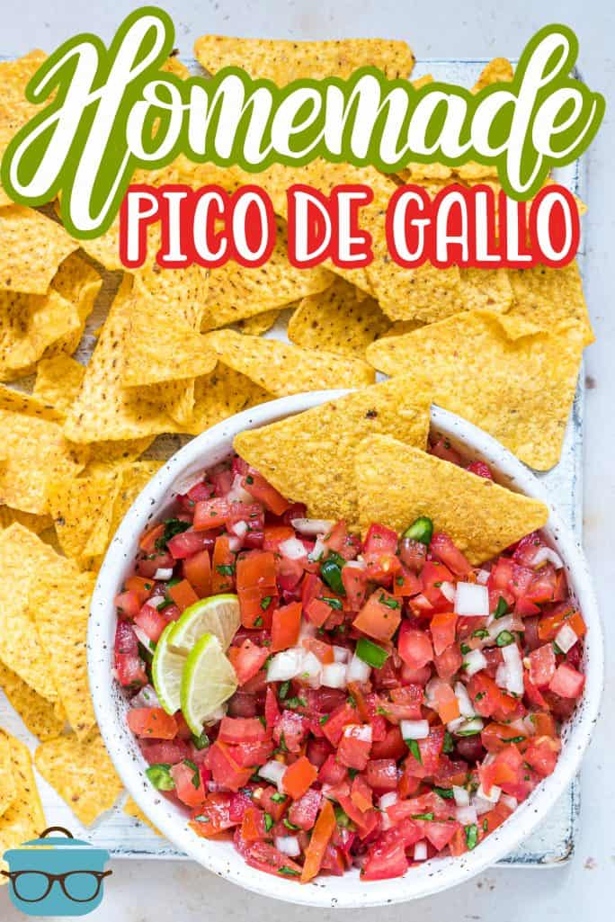 A bowl of Pico de Gallo surrounded by tortilla chips Pinterest image
