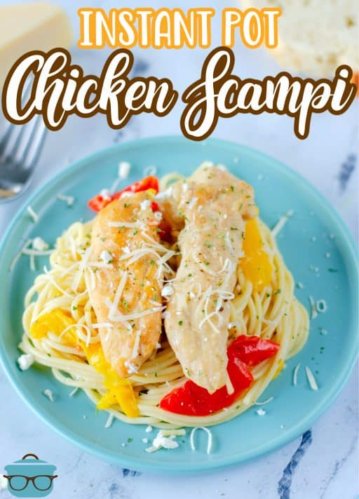 Overhead of plated Instant Pot Chicken Scampi on blue plate topped with cheese Pinterest image